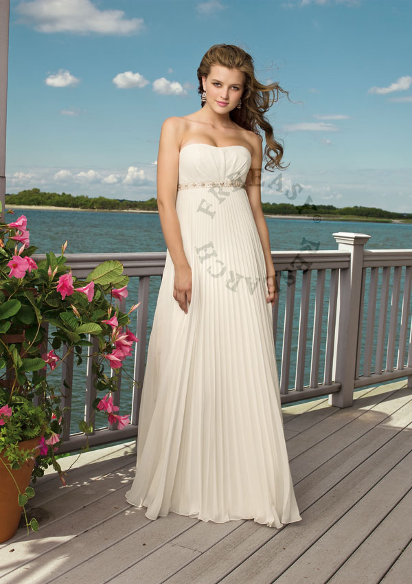 Flowy empire wedding dress a08 freeasy bridal for Empire waist beach wedding dress